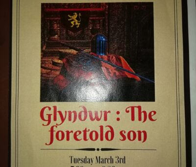 Book Talk with Catrin Collier, Glyndwr: The foretold son – Barry Library £3 (includes a glass of wine).